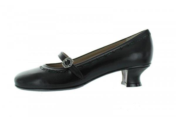 dirndl+bua Trachtenpumps Modell Luhe, Ziegennappa schwarz / tanne